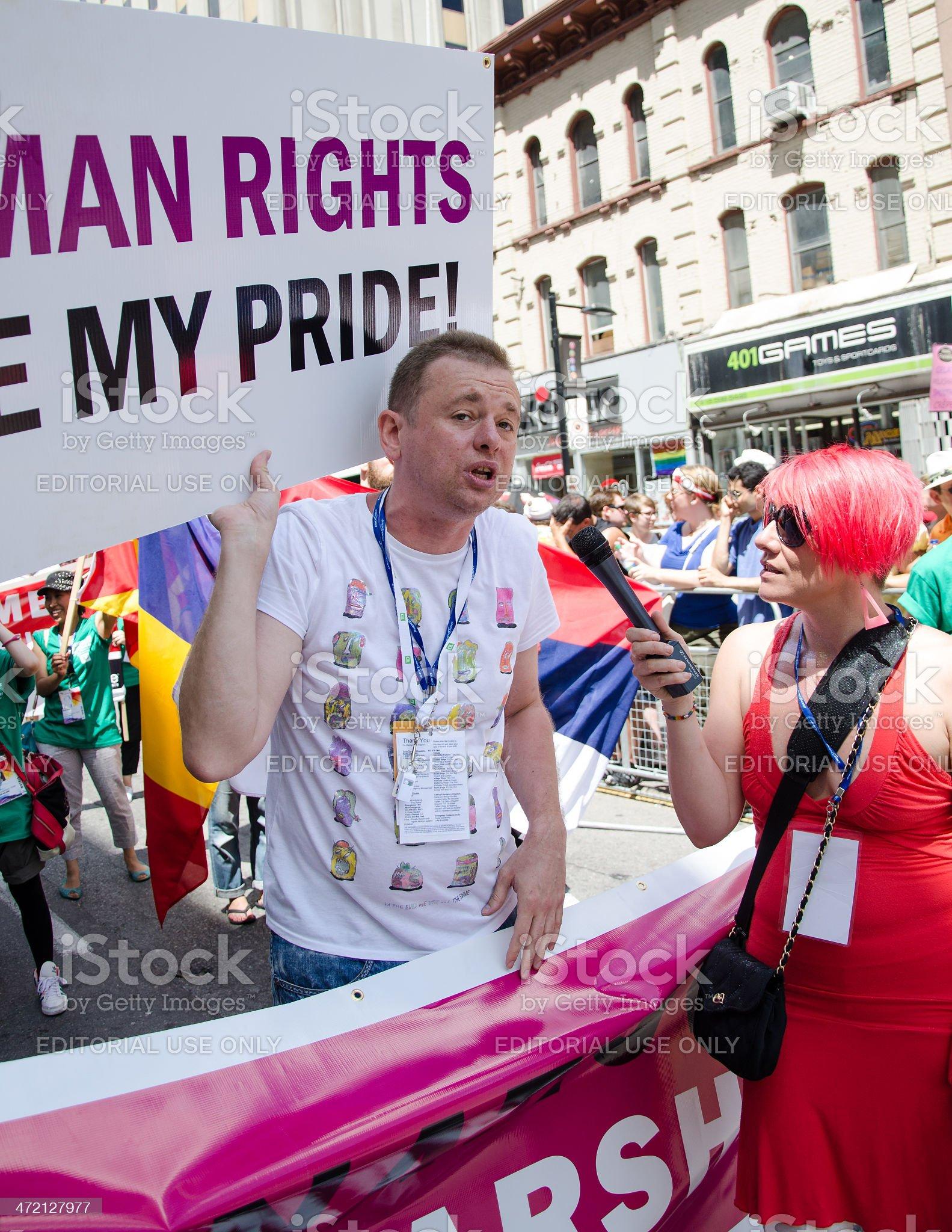 Goran Miletic in Toronto Pride Parade royalty-free stock photo
