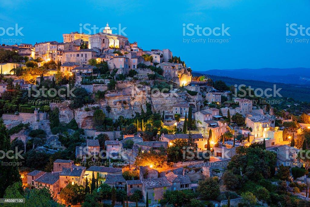 Gordes at Night Provence Alpes France stock photo