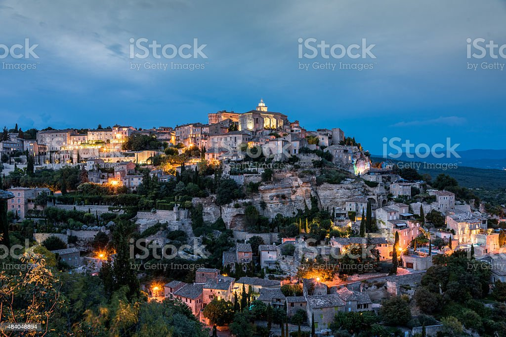 Gordes Provence at Night Alpes France stock photo