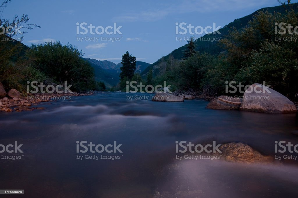 Gore Creek Vail Colorado at Night with Motion Copy Space stock photo