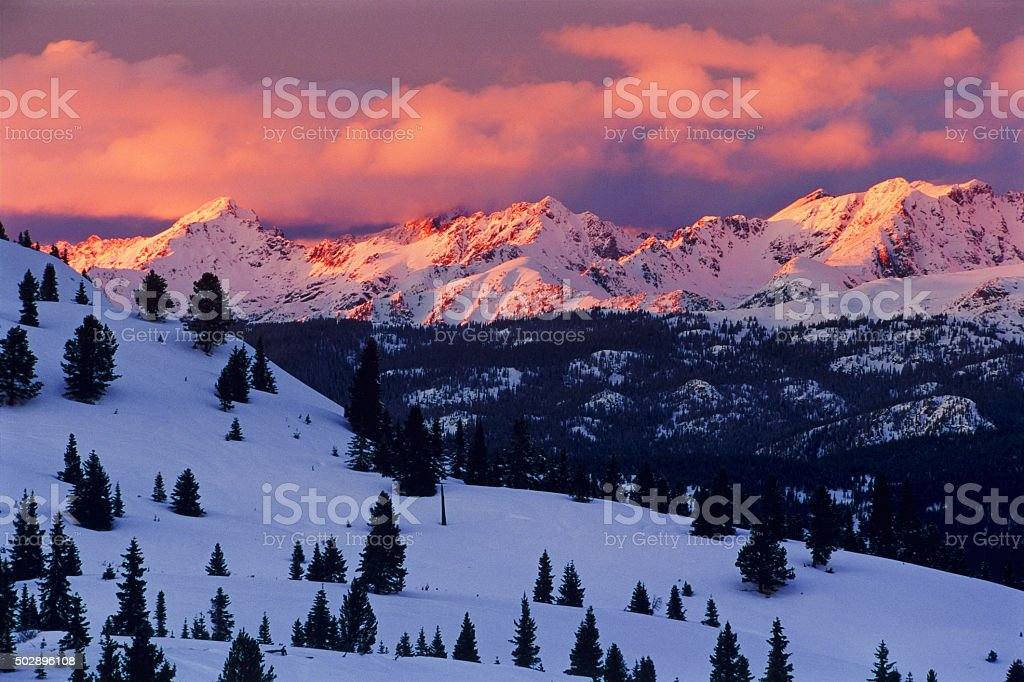 Gore Range Alpenglow Landscape stock photo