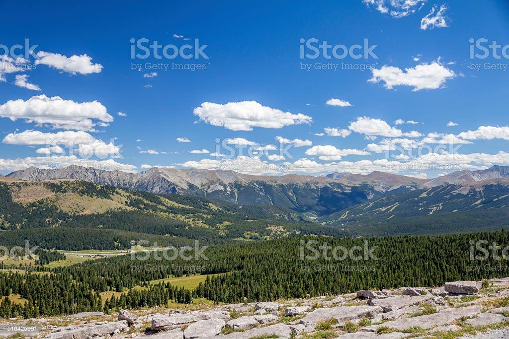 Gore Range, Colorado Rockies from Shrine Mountain hiking trail stock photo