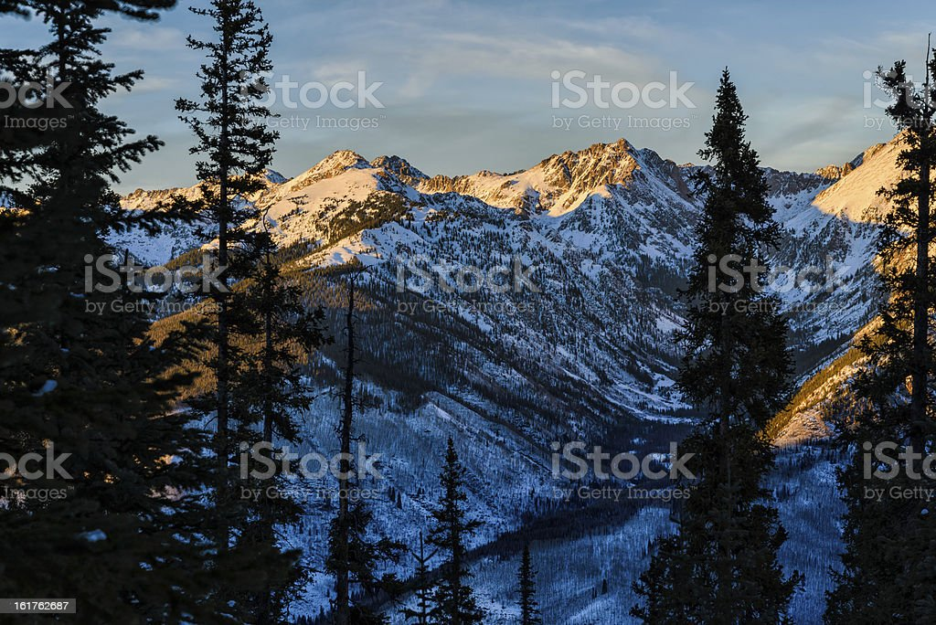 Gore Range Mountain Landscape in Winter stock photo