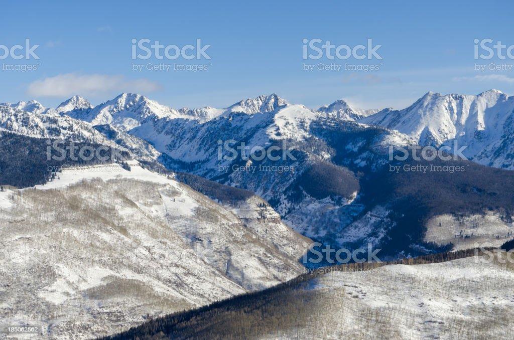 Gore Range Mountains Colorado in Winter stock photo