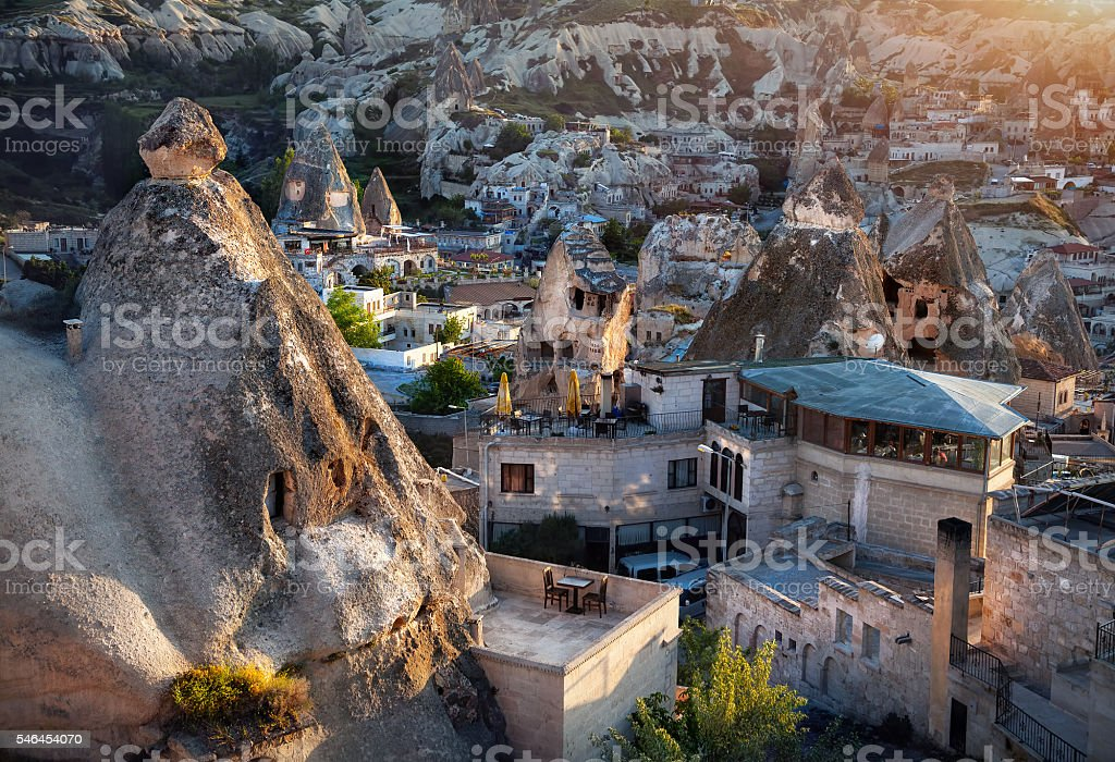 Goreme city in Cappadocia stock photo