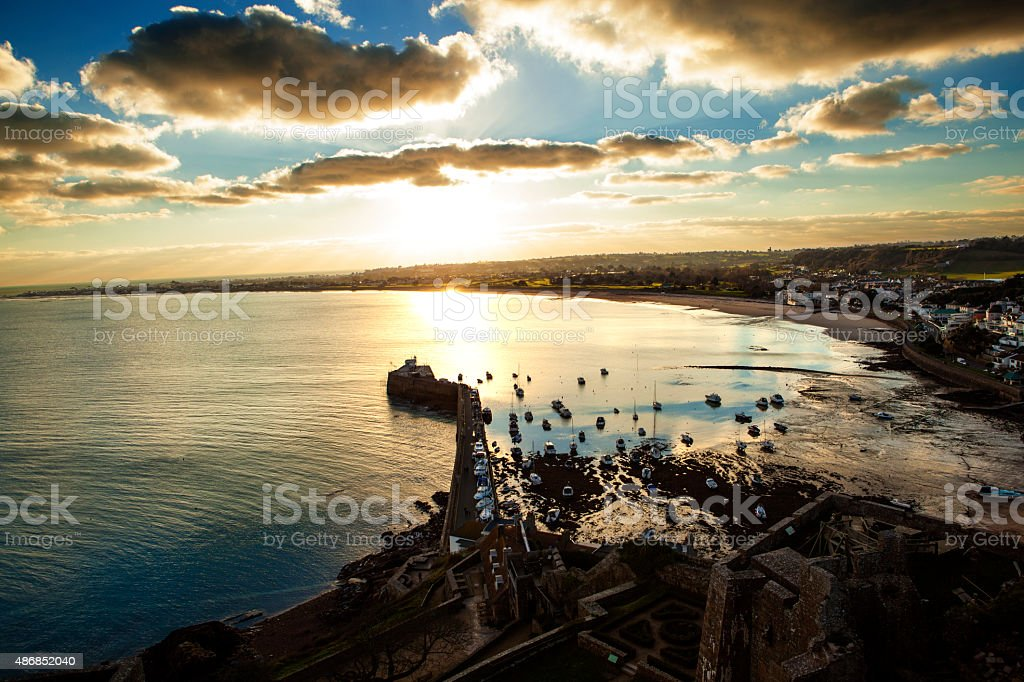 Gorey Harbour at Jersey stock photo