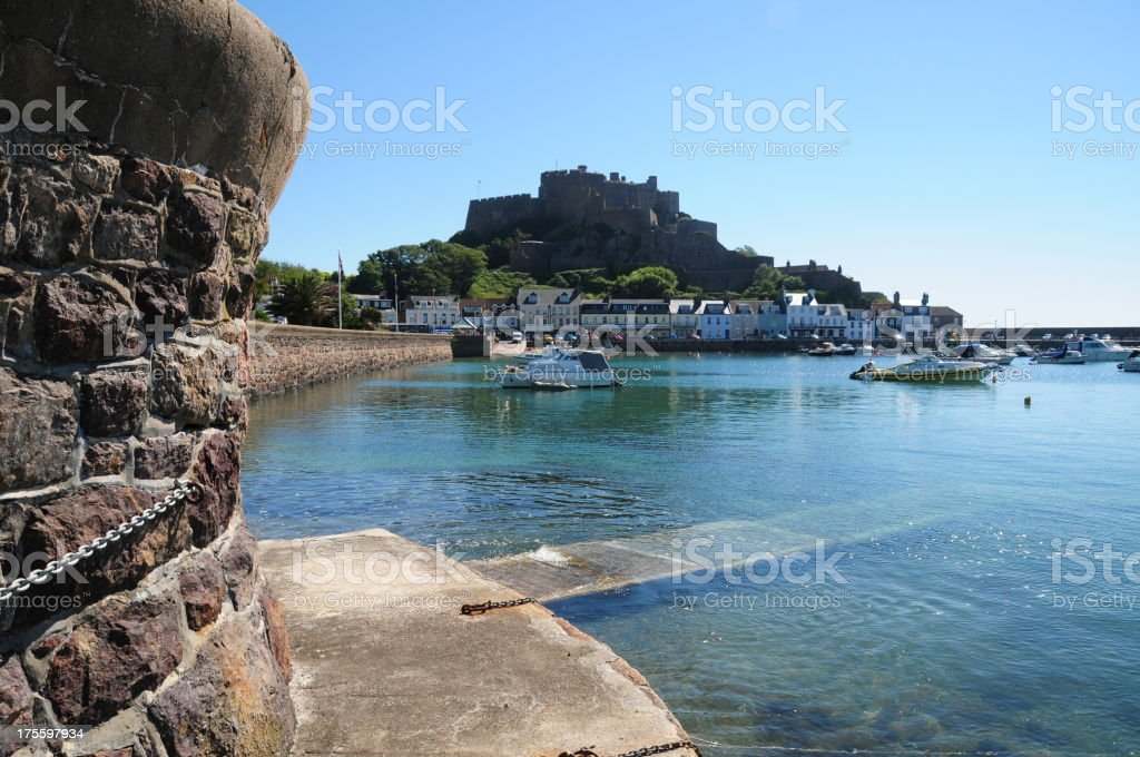 Gorey Harbour,Grouville,Jersey. stock photo