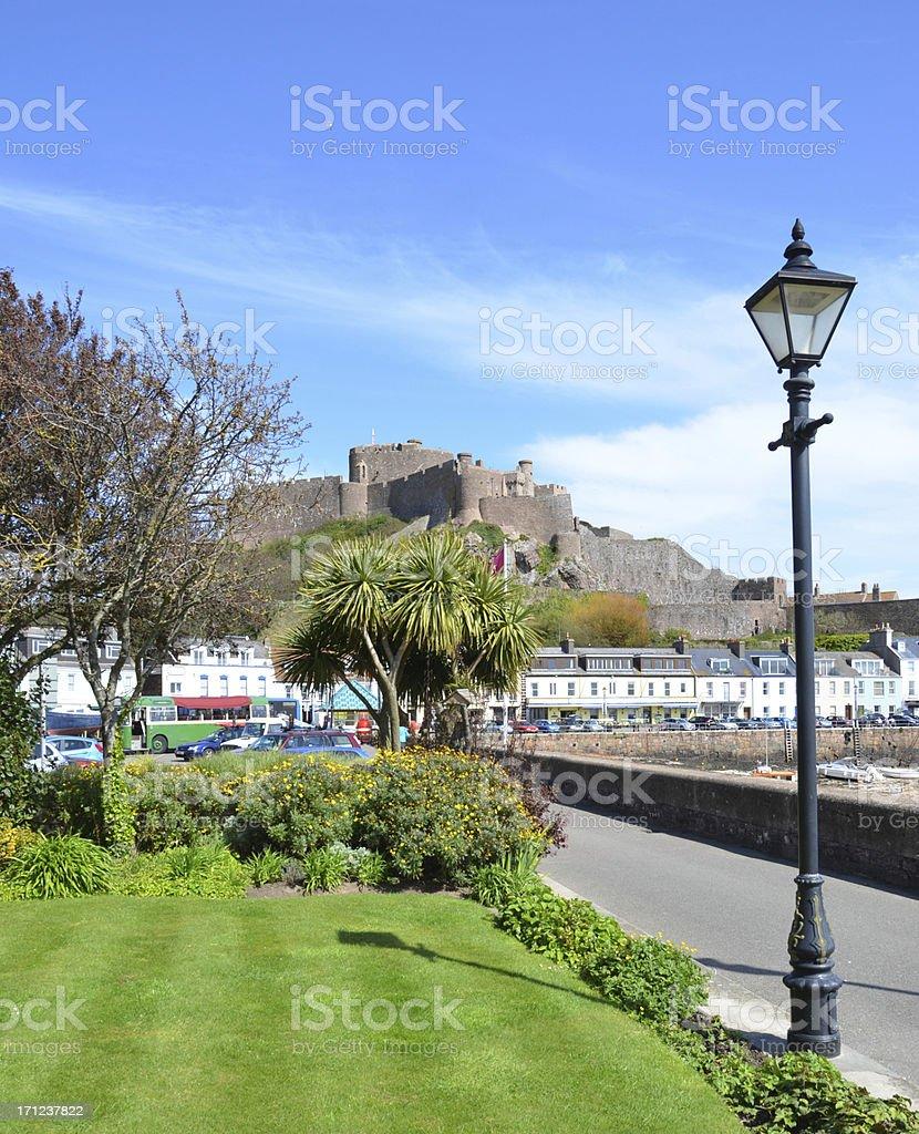 Gorey Lamp-post & Mont Orgueil Castle stock photo