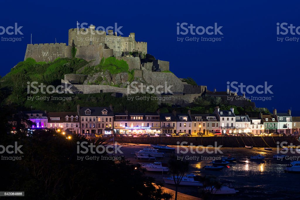 Gorey with Mont Orgueil Castle at night stock photo