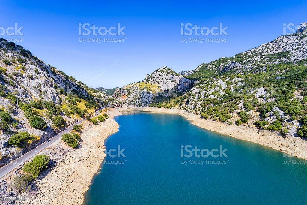 Gorg Blau artificial reservoir Serra de Tramuntana , Majorca stock photo