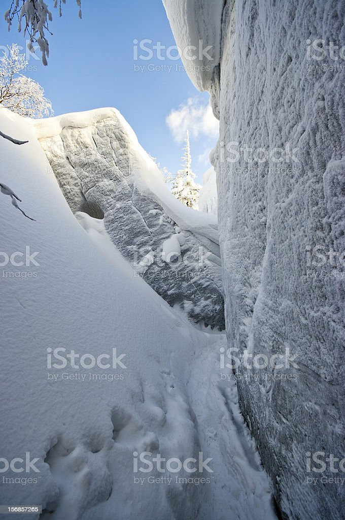 Gorge covered by snow stock photo