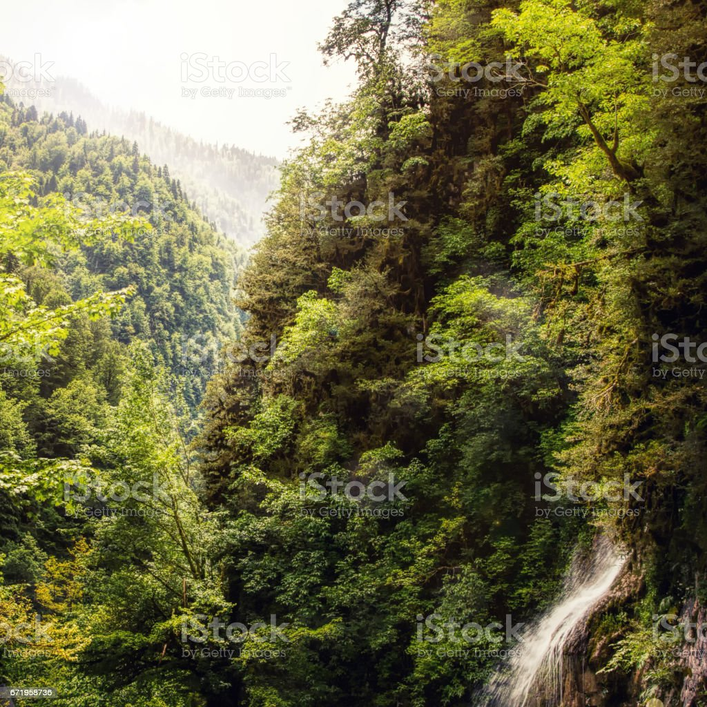Gorge with a waterfall stock photo