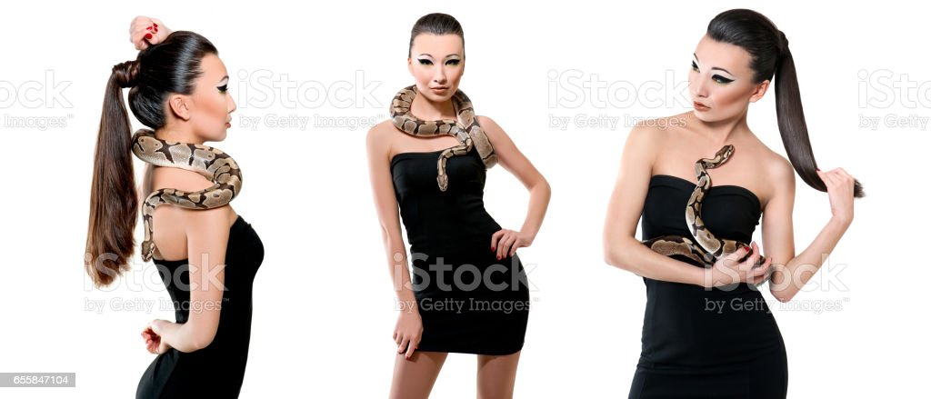 Gorgeous Asian young woman posing with a snake stock photo