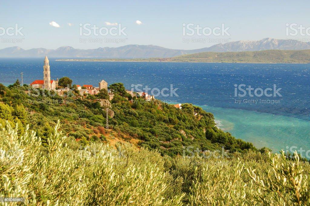 gorgeous azure scene of summer croatian landscape in igrane, dalmatia, croatia stock photo