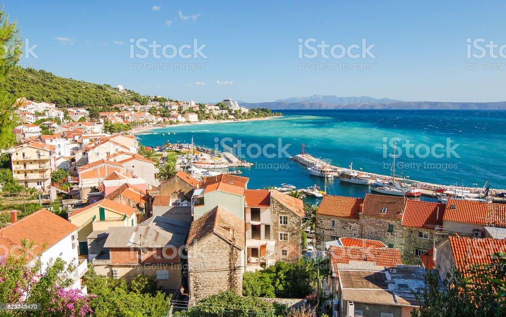 gorgeous azure scene of summer croatian landscape in podgora, dalmatia, croatia stock photo
