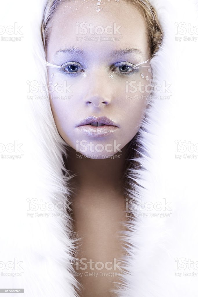 Beautiful Ice Queen in White Fur, Copy Space stock photo