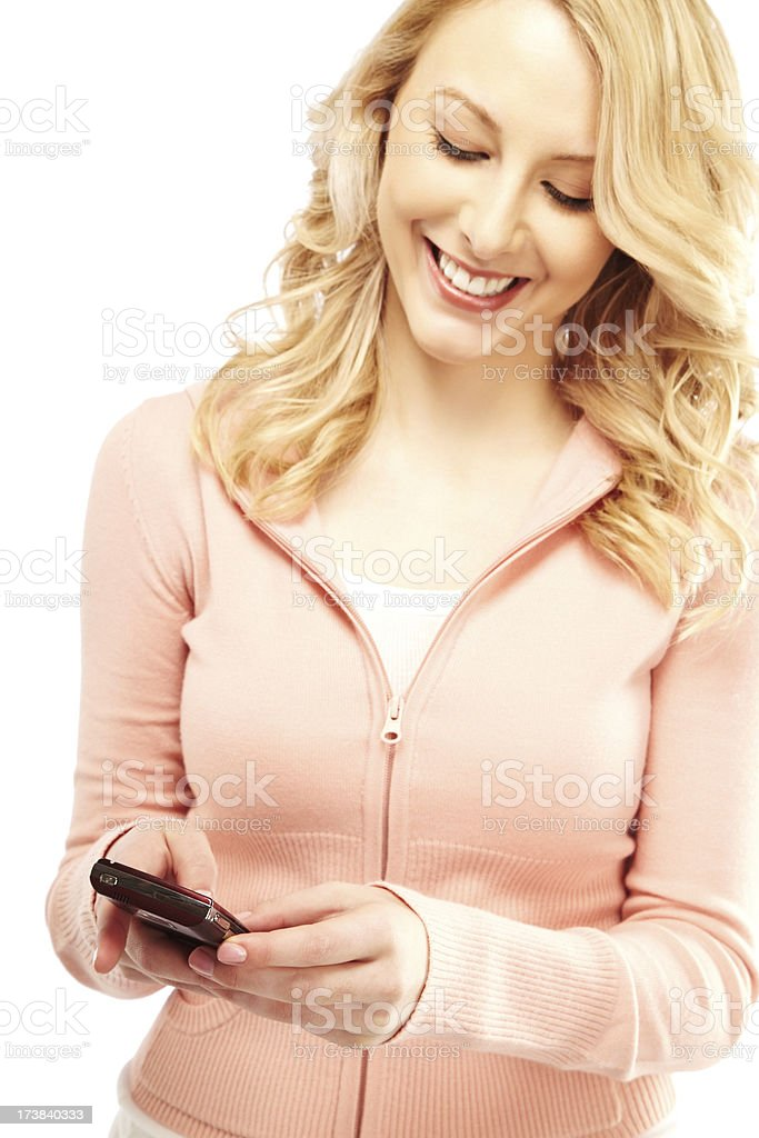 Gorgeous Blond Woman Sending a Text Message royalty-free stock photo