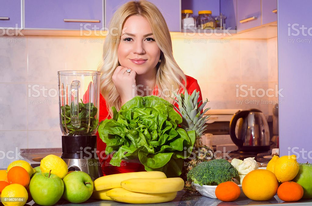 Gorgeous blonde healthy eating concept stock photo