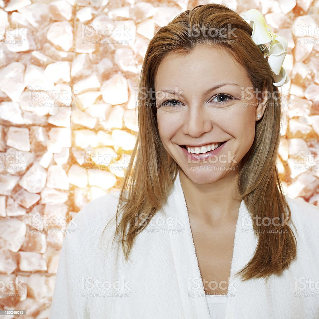 Gorgeous blonde woman in salt room. stock photo
