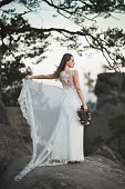 Gorgeous bride in elegant dress holding bouquet posing near forest