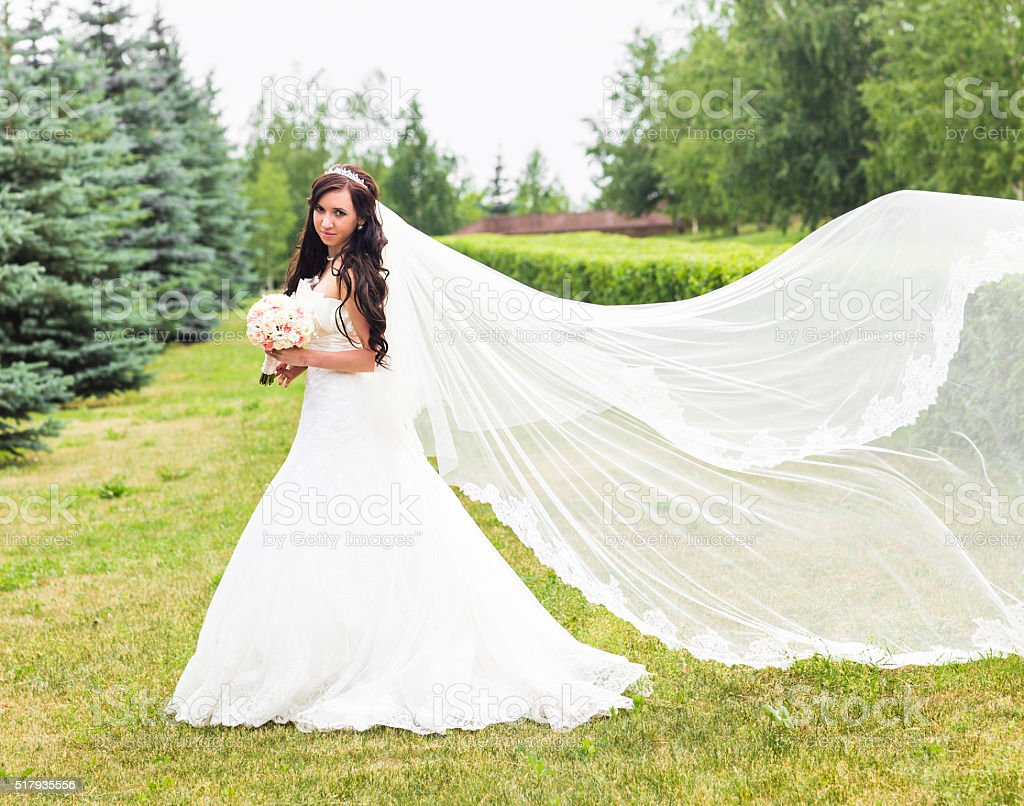 Gorgeous  Brunette bride with bouquet outdoor, posing stock photo