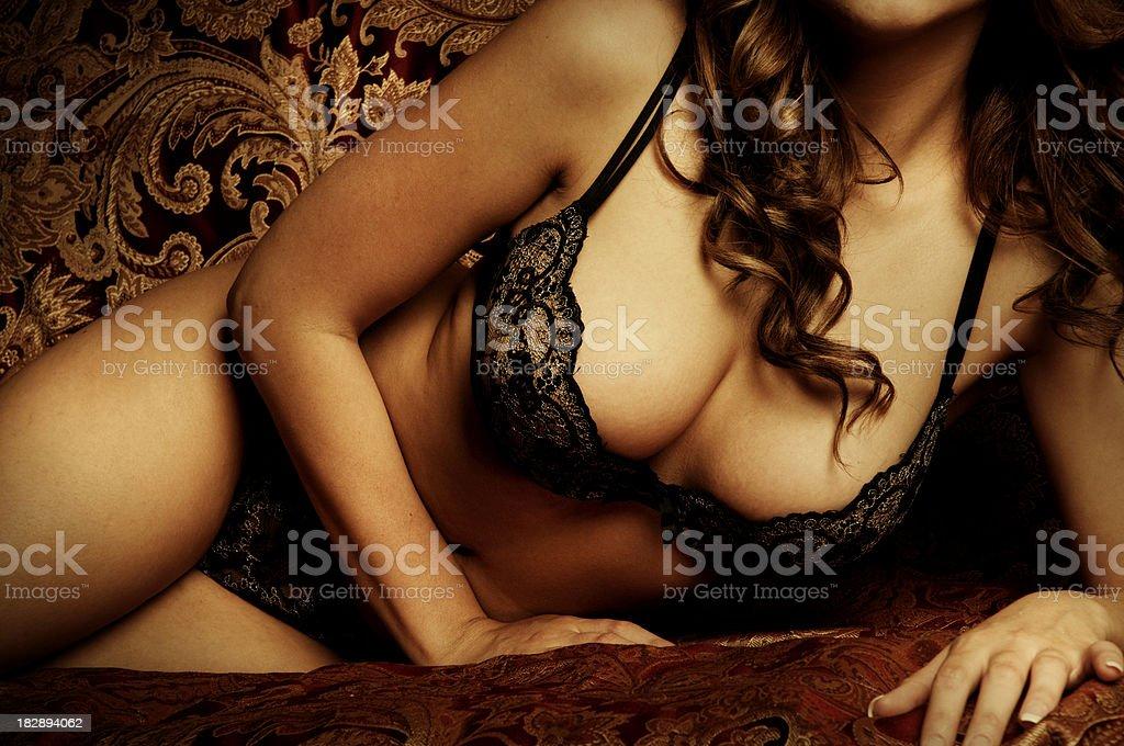 Gorgeous Brunette in Lingerie stock photo