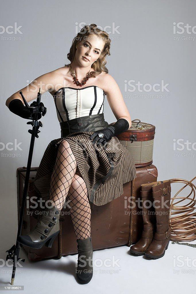 Gorgeous Brunette Steampunk Woman stock photo