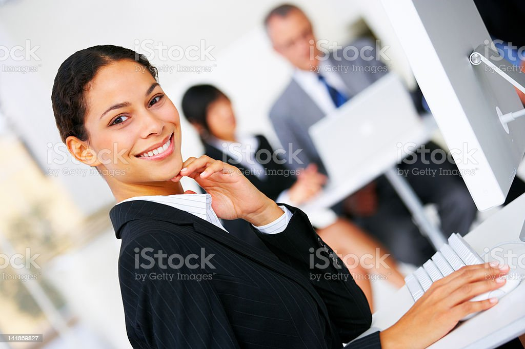 Gorgeous businesswoman smiling royalty-free stock photo