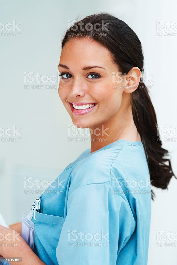 Gorgeous charming lady looking at the camera stock photo
