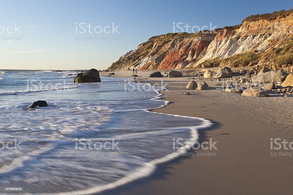 A gorgeous cliffs at Gay Head with the view of the beach stock photo