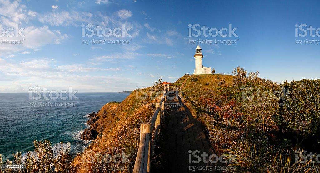 Gorgeous coastal landscape of Byron Bay lighthouse stock photo