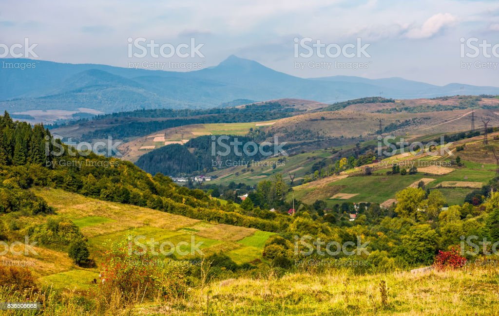 gorgeous countryside with village in valley stock photo