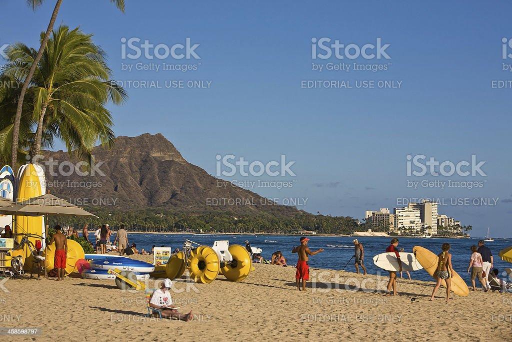 Gorgeous Day on Waikiki Beach royalty-free stock photo