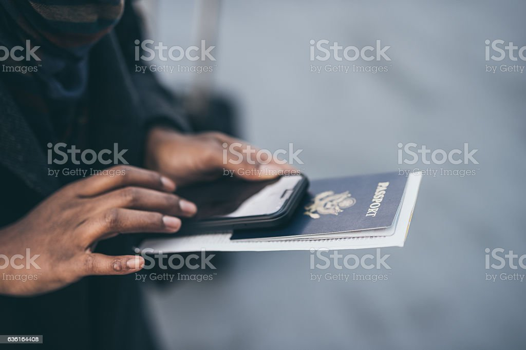 Gorgeous ethnic young adult female traveling stock photo