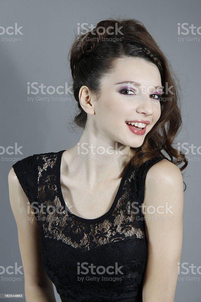 Gorgeous fashion woman smiling stock photo