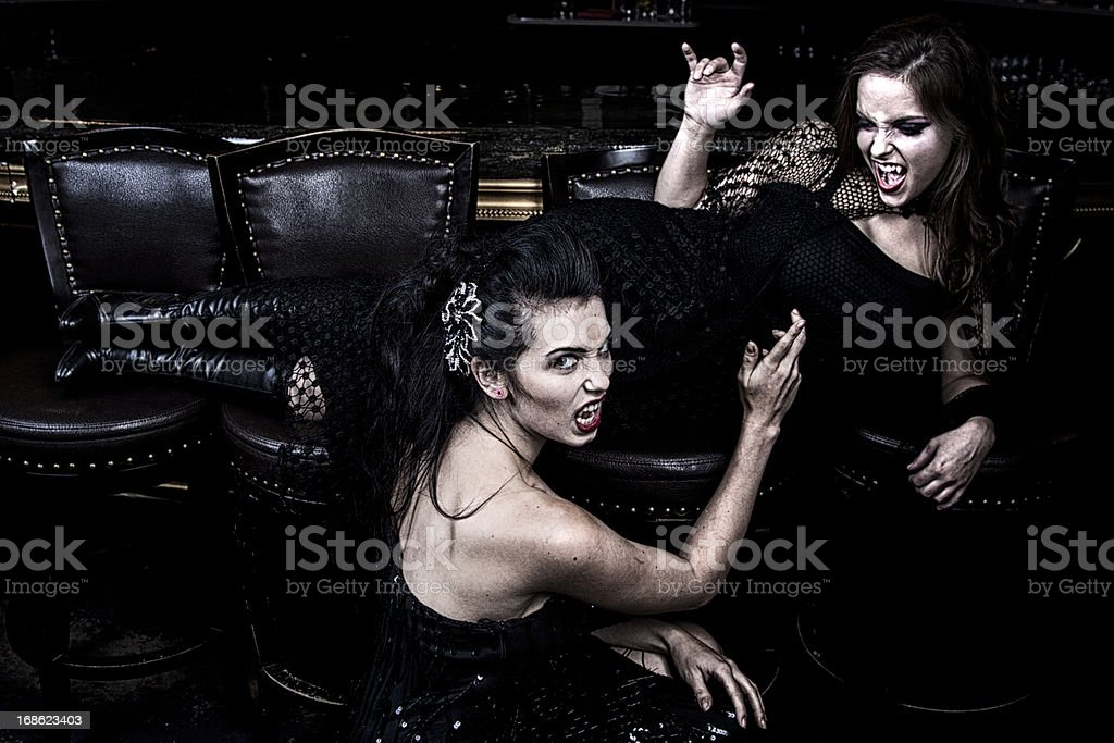 Gorgeous Fighting Vampire Women royalty-free stock photo