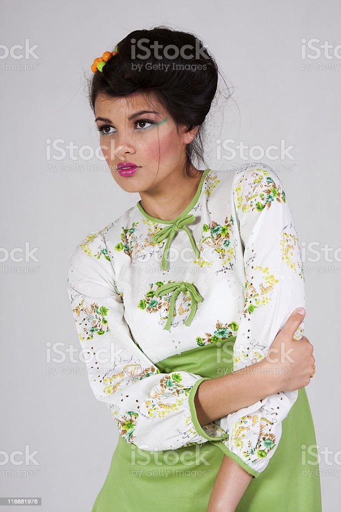 Gorgeous girl in a retro dress stock photo