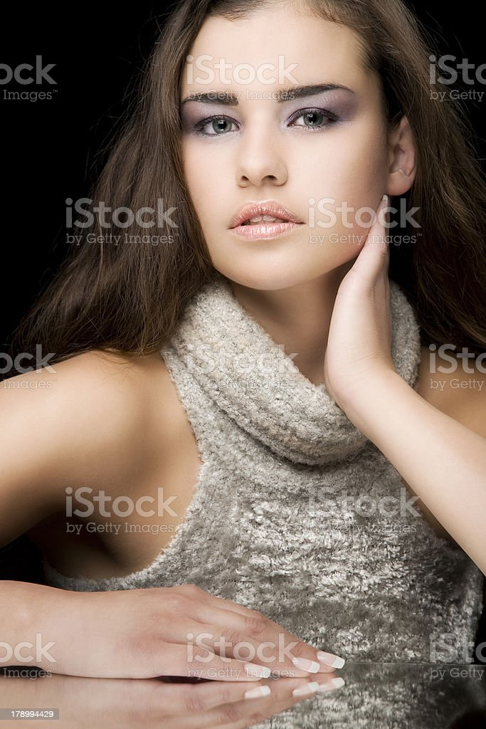 Gorgeous girl leaning on mirror royalty-free stock photo