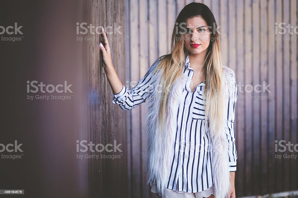 Gorgeous girl with red lipstick stock photo