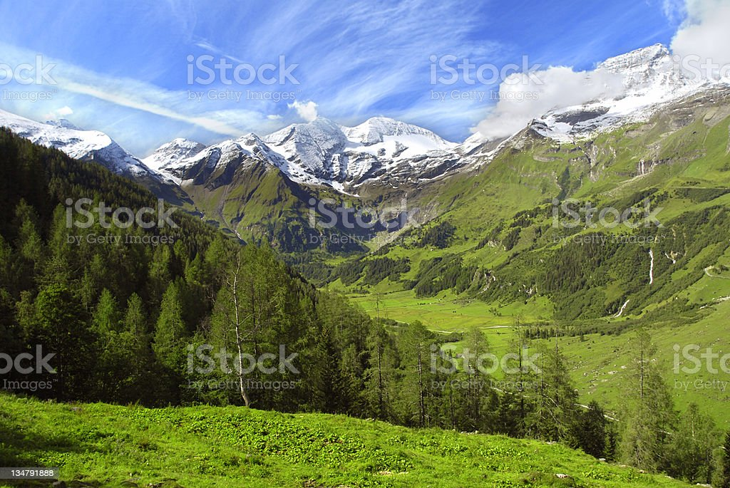 Gorgeous green landscape of Alps in Grosslockner royalty-free stock photo