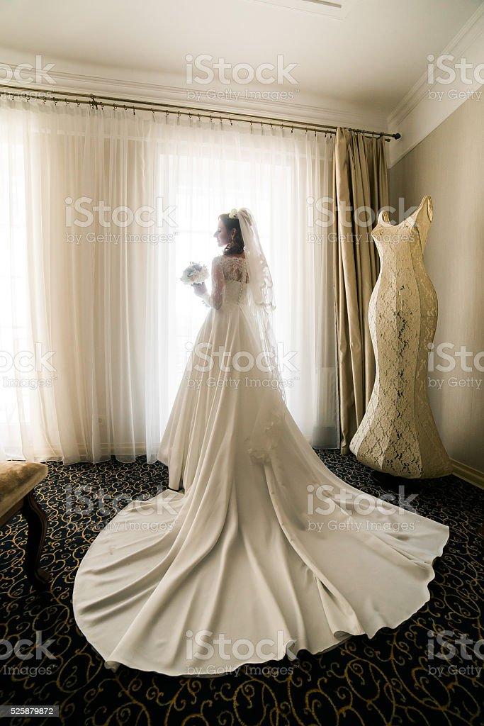 Gorgeous happy luxury stylish bride in white dress and veil stock photo