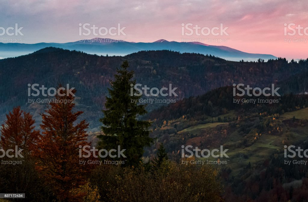 gorgeous hazy morning in mountains stock photo