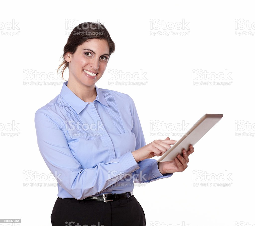 Gorgeous hispanic woman smiling with tablet pc royalty-free stock photo