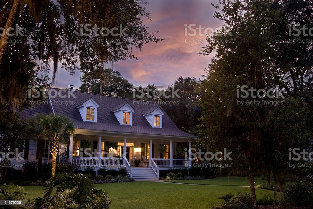 gorgeous house at twilight stock photo