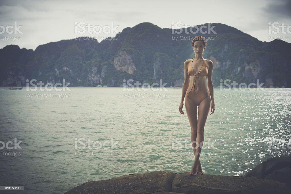 Gorgeous lady at the sea stock photo