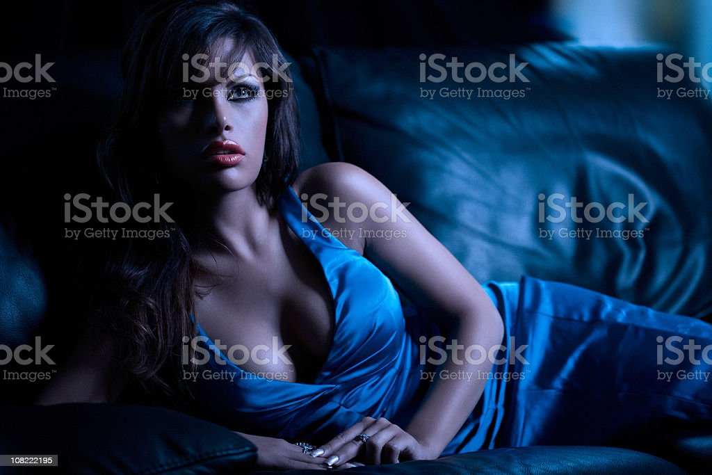 Gorgeous Model in Dark Room royalty-free stock photo