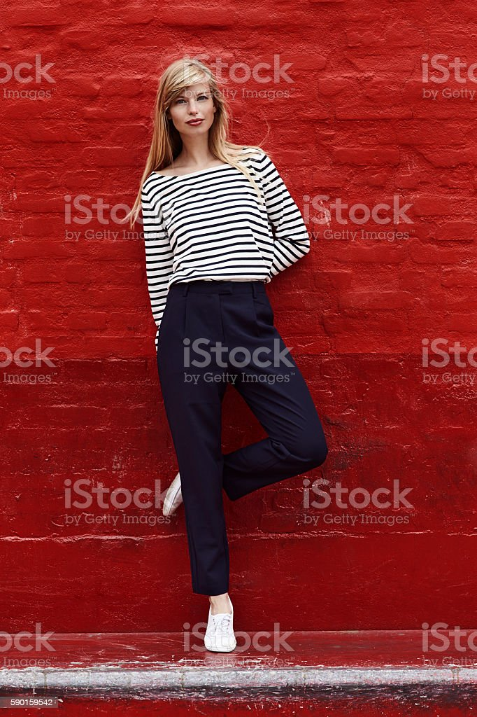 Gorgeous on red stock photo