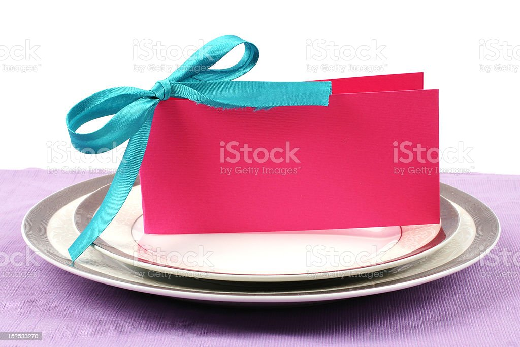 Gorgeous pink postcard on plates royalty-free stock photo