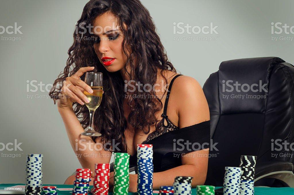 Gorgeous poker girl stock photo