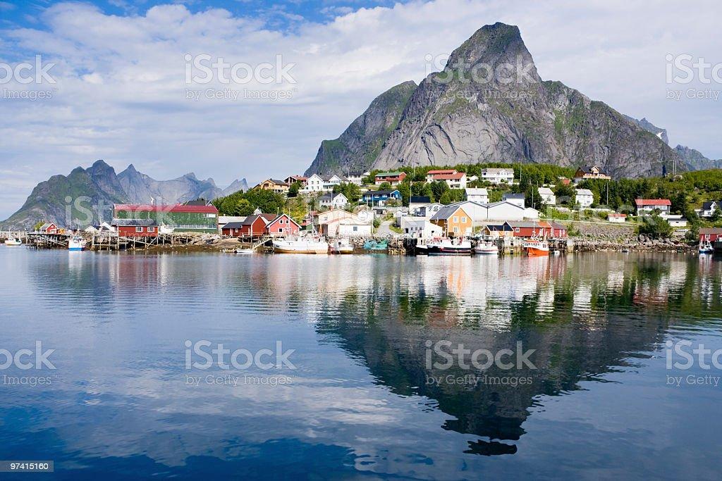 Gorgeous reflection of Lofoten stock photo